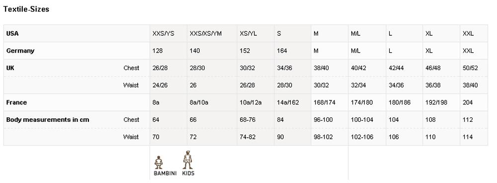 Uhlsport sizing chart