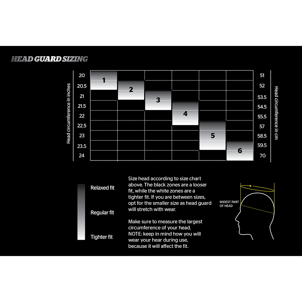Storelli Head Guard Sizing Chart
