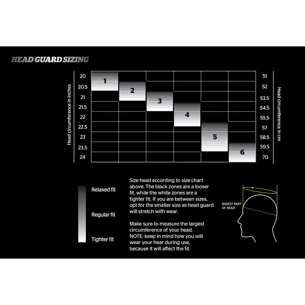 Storelli Head Guard Sizing Chart