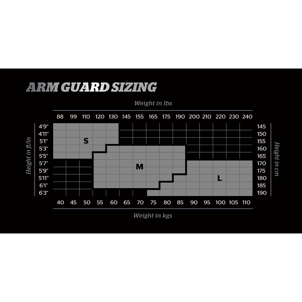 Storelli Arm Guard Sizing Chart