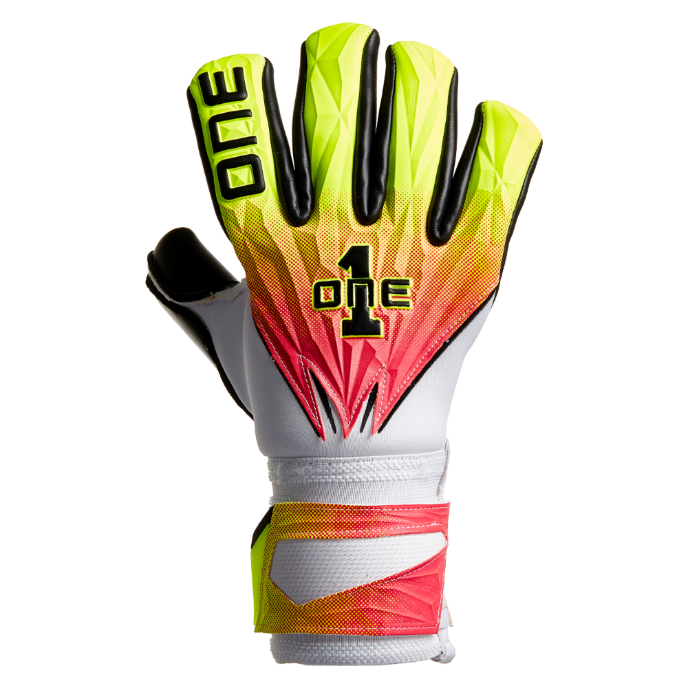 Stylish backhand design on the One Glove Company Geo Tempest soccer goalie glove