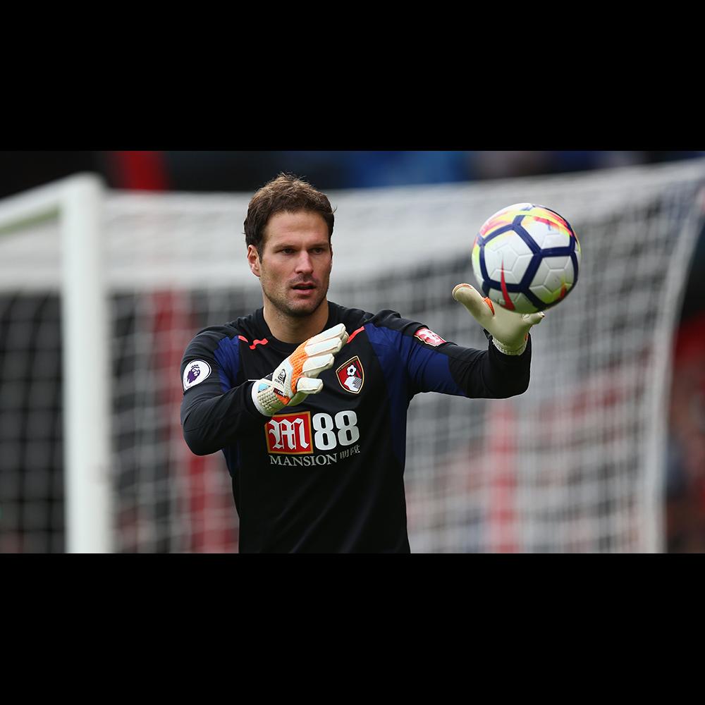 Asmir Begovic of Bournemouth FC wearing Sells Gloves
