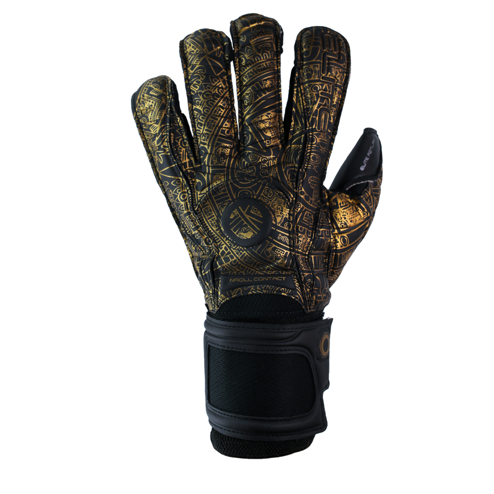 Awesome goalkeeper glove gold Aztec design