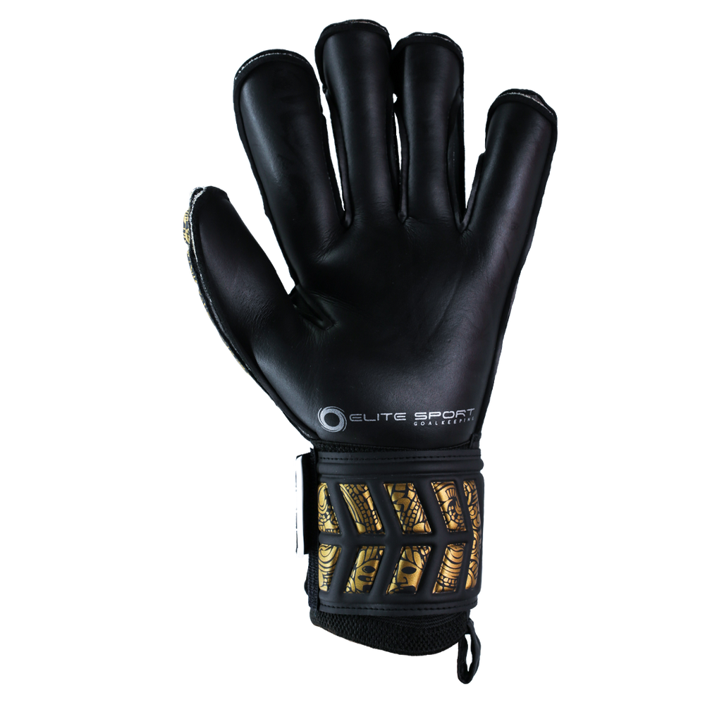 Black goalkeeper glove with durable palm