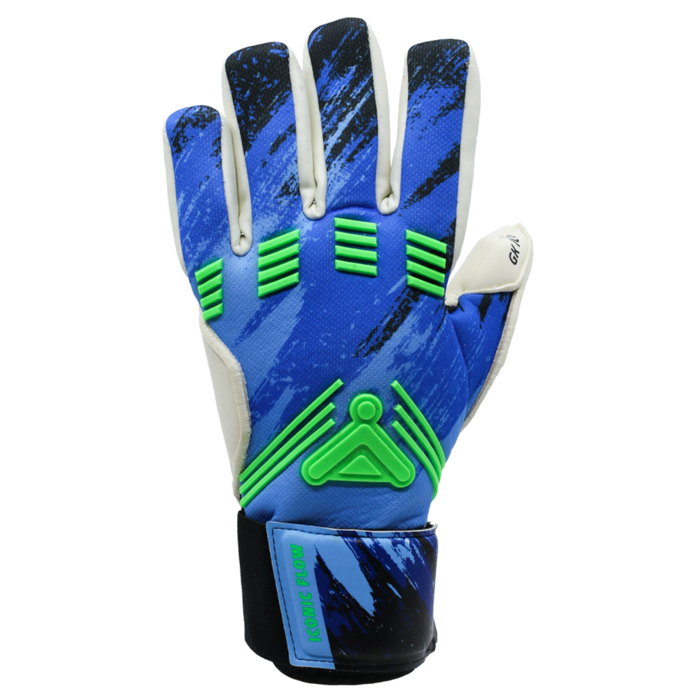 Iconic Flow Aqua Goalkeeper Glove Backhand Neon Green and Blue