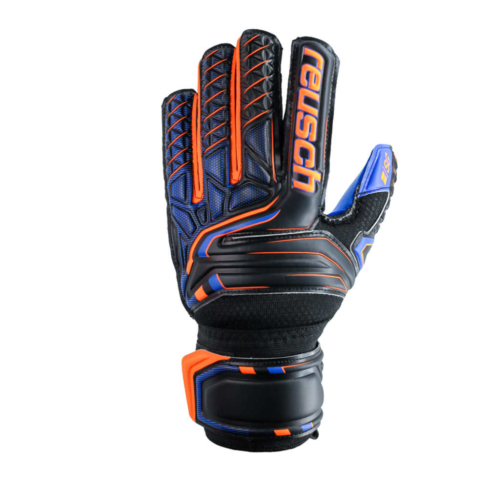 Orange and black goalie gloves