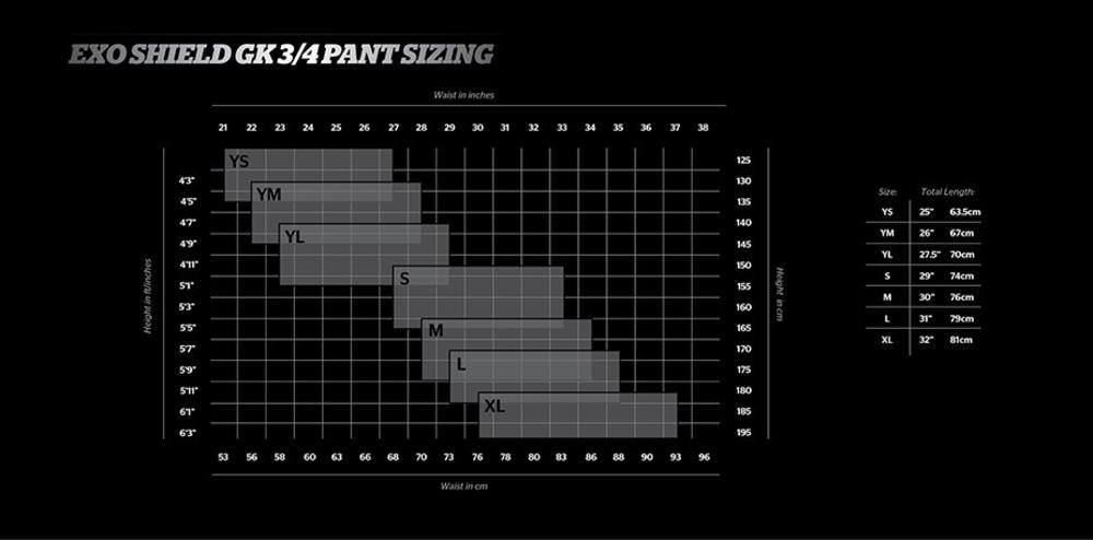 Storelli Sizing Chart