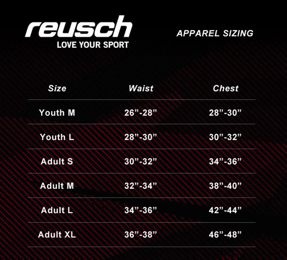reusch goalkeeper pant sizing chart
