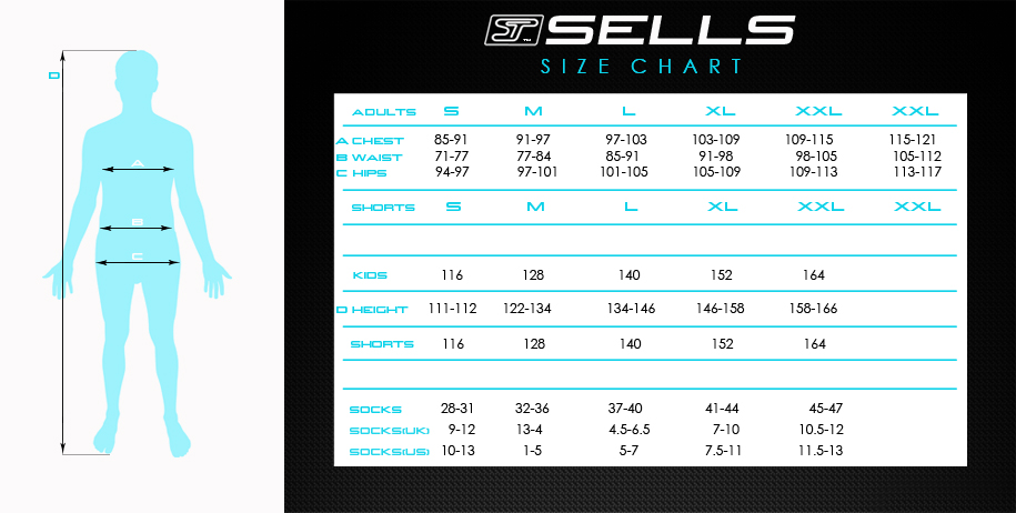 Sells Goalkeeper Products Apparel Sizing Chart